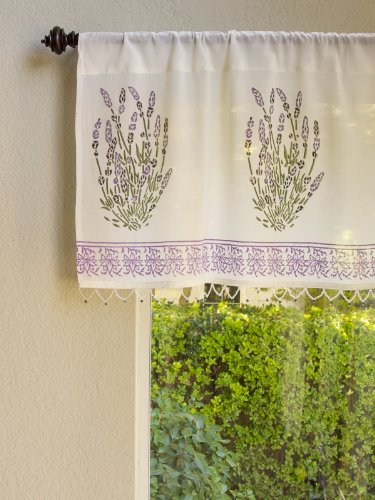 Lavender Dreams ~ French Provence Beaded Window Valance 46x17 -