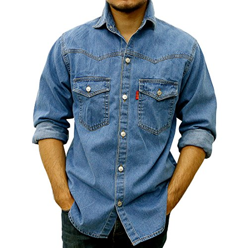 Taruron Denim Washed, Blue, Dark Jeans Casual Jacket for Men (Washed, Large)