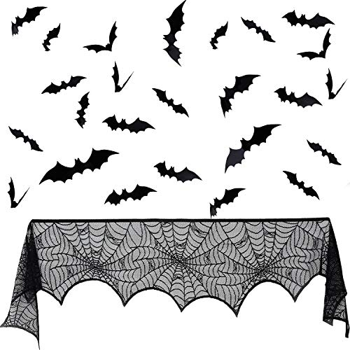 Tatuo Halloween Lace Spiderweb Black Fireplace Mantle Scarf Cover and 60 Pieces 3D Scary Bats Wall Decals for Halloween Themed Party -