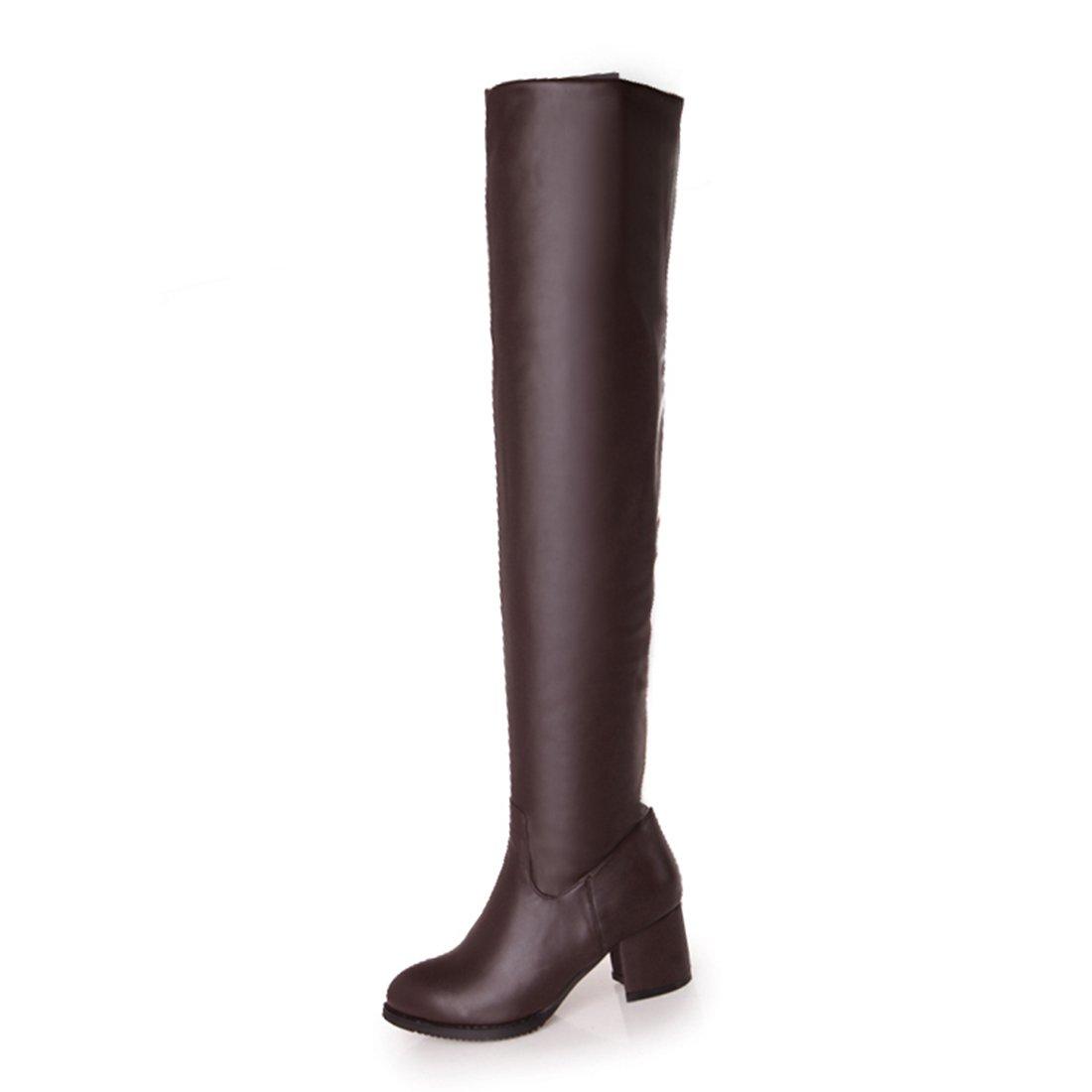Und Gefütterte Damen Schuhe Reißverschluss Absatz Boots High 6cm Overknee Mit Bequeme Stiefel Warme Uh Chunky Heels wXTOuPkiZ