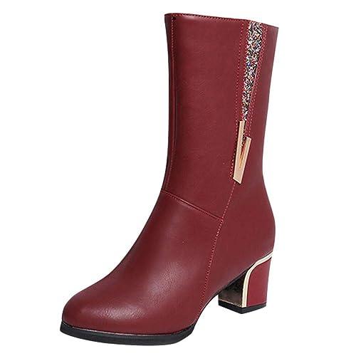 carrés à en Femme Talons Kaiki Bottes Martin Chaussures Travail De 4gUwqwf81