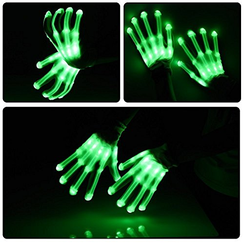 Led Skeleton Gloves, TILO Color Changeable Light Up Shows Skull Changing LED Flashing Light Colorful Charming Halloween Costume Novelty Christmas Gift For Friends -