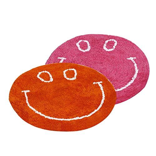 (Dreaming Cotton 100-Percent Cotton Round Medium Sized Smiley Tufted Bath Rug/Bath Mat/Door Mat (Set of 2, Bright Coloured-Var1))