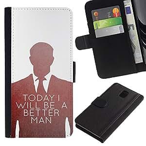 Be-Star la tarjeta de Crédito Slots PU Funda de cuero Monedero caso cubierta de piel Para Samsung Galaxy Note 3 III ( Be Better Man Suit Vignette White )