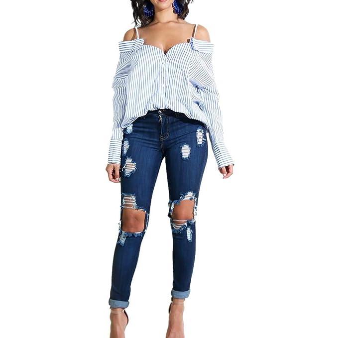 DEELIN La Moda De La Mujer Sexy Strapless Strap Strapless con Cuello En V Shirt Stripes