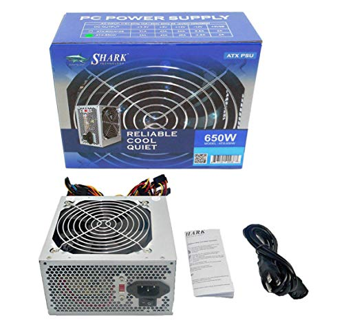 SHARK TECHNOLOGY 650-Watt Retail Quiet 120mm Cooling Fan 4-SATA, 4-Molex, PCIe, 20/24pin, CPU 12V 4/8pin Replacement ATX PC Power Supply