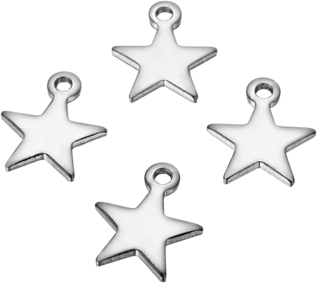 SSP099 8 Moon and Star Silver Tone Stainless Steel Charms 2 Sided