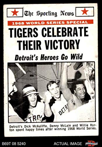 1969 Topps # 169 1968 World Series Summary - Tigers Celebrate Their Victory Dick McAuliffe / Denny McLain / Willie Horton St. Louis / Detroit Cardinals / Tigers (Baseball Card) Dean's Cards 1.5 - FAIR Cardinals / Tigers