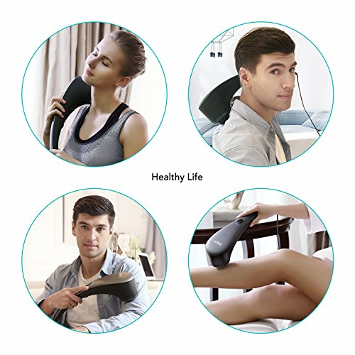 Naipo Handheld Percussion Massager Electric Back Massage with Heat and Deep Tissue Massaging for Muscle Pain Relief, 6 Interchangeable Nodes, Wide-Range Adjustable Speed - Gray