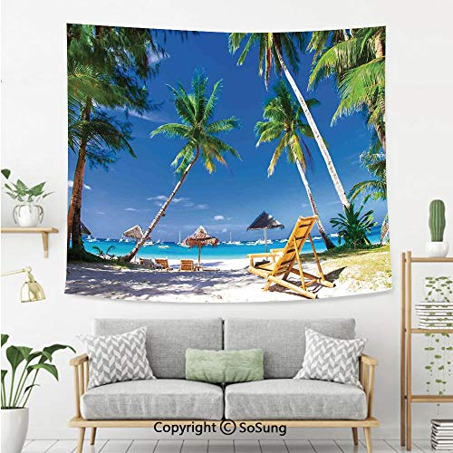 SoSung Seaside Wall Tapestry,Sun Bed Under Palm Trees Tropical Oceanside in Boracay Island Image Print,Bedroom Living Room Dorm Wall Hanging,92X70 Inches,Green Blue and White]()