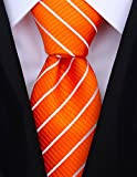 Striped Ties for Men - Woven Necktie - Orange w/White