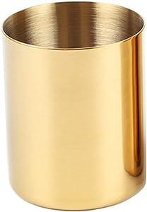 MultiBey Golden Pen Holder Simple Rose Gold Flower Mini Vase (Gold)