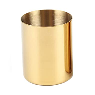 MultiBey Golden Pen Holder Simple Rose Gold Flower Mini Vase (Gold)