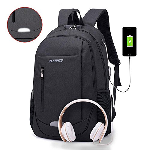 Aolvo Slim Laptop Backpack for Men Anti Theft Travel/School Backpack with USB Charging Port & Headphone Jack & Anti-Theft Lock Business Water Resistant Polyester 15.6 Inch ()