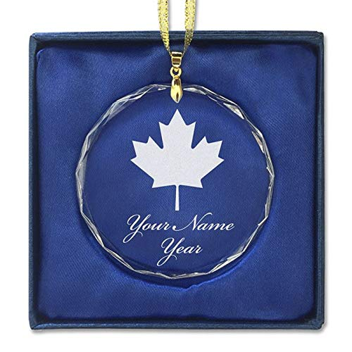 LaserGram Christmas Ornament, Maple Leaf, Personalized Engraving Included (Round Shape)