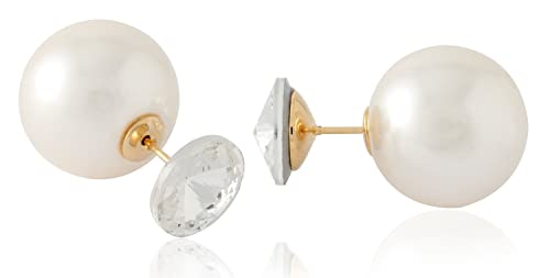 4bc8710b1 Image Unavailable. Image not available for. Color: Front Back Earrings with  Big Swarovski Crystal and Simulated Cream Pearl ...