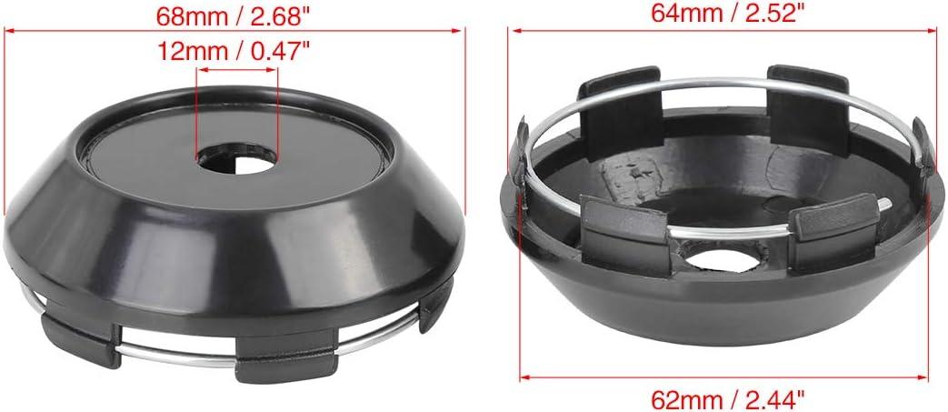 X AUTOHAUX 68mm Dia 6 Clips Car Wheel Tyre Center Hub Cap Base Black 4 Pcs
