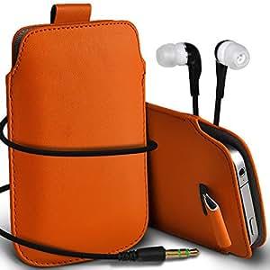 Direct-2-Your-Door - Huawei Ascend G300 premium protección PU Tire de la cubierta del caso Tab bolsa deslizamiento del cordón en el bolsillo y Coincidencia 3.5MM Auriculares Auriculares Auriculares - Orange