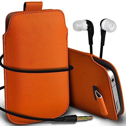 N4U Online - Apple Iphone 4 Prime de protection PU cuir Pull Tab cordon glisser la peau Pouch Pocket Housse & Matching casque 3,5 mm écouteurs écouteurs - Orange