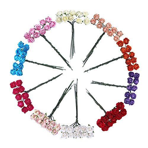 CCINEE 100pcs Assorted Colors Mini Paper Flowers Artificial Paper Flowers for Crafts and Decoration 15mm
