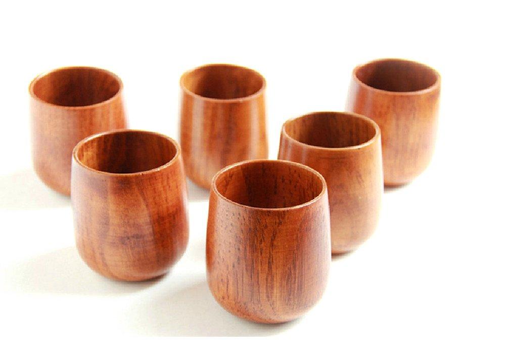 Moyishi Top-Grade Natural Solid Wood Wooden Tea Cup Wine Mug 250ml,Set of 4 by Moyishi SYNCHKG060869