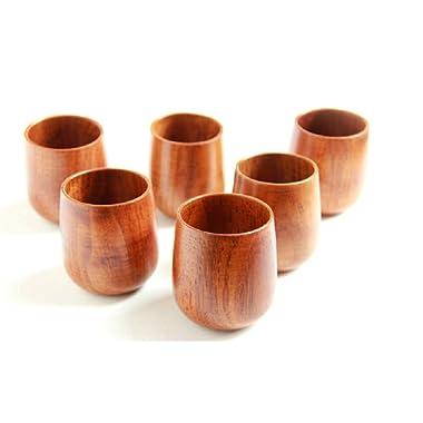 Moyishi Top-Grade Natural Solid Wood Wooden Tea Cup Wine Mug 250ml,4PCS