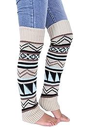 Women Leg Warmer Fashion Winter Bohemian Boho Knit Crochet Long Boot Socks Beige