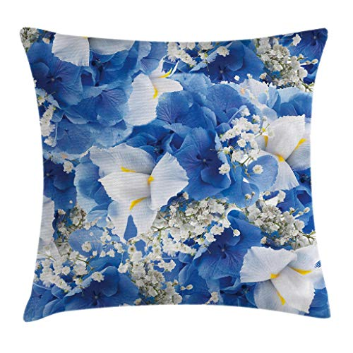 """Ambesonne Floral Throw Pillow Cushion Cover, Flower Bouquet with Hydrangeas and Irises Blossoms Buds Springtime Summer Design, Decorative Square Accent Pillow Case, 18"""" X 18"""", Blue Yellow"""