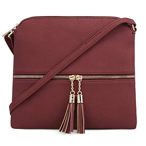 Lightweight Zipper with SUGU Pocket Medium Crossbody Wine Bag Tassel SG and TP5q8Onxn