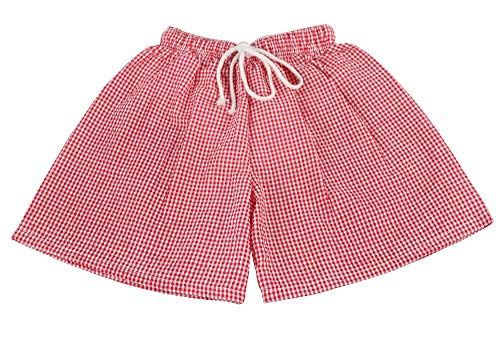 Chichoice Baby Boys Seersucker Swim Trunks Toddler Boys Drawstring Waist Swimsuit Beach Short with Navy Gingham Trim Drawstring (Red, 12/18m)