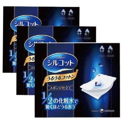 Unicharm Silcot Uruuru Sponge Facial Cotton 40 Sheets 3 Packs (3) - Center 40 Sheet