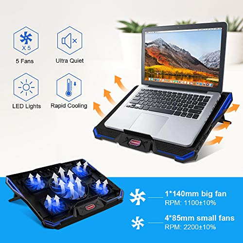 Ultra Leise Notebook K/ühler mit 5 Ruhige L/üfter und Blau LEDs Laptop K/ühler f/ür 12-17,3 Zoll 7 H/öheverstellbar,2 USB-Anschl/üssen,Vverstellbare Windgeschwindkeit Laptop Cooling Pad f/ür Gamer Gaming