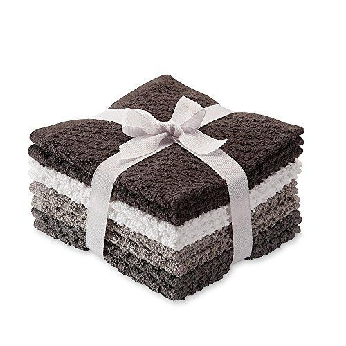 8 Pack Popcorn Texture Terry Wash Cloths Rags Charcoal Dark Gray Grey White by Essential Home