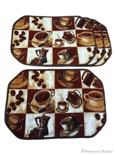 Amazon Com Set 4 Piece Coffee Placemats Espresso Latte Decor Table Cafe Kitchen Place Mats Home Kitchen