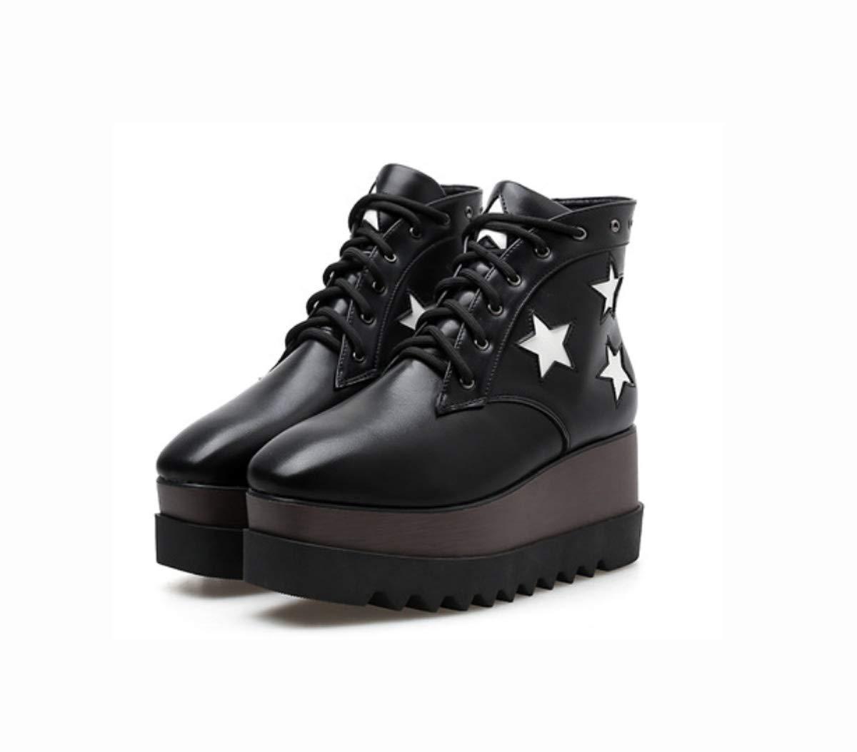 DANDANJIE Damenschuhe Schuhe Keilabsatz Stiefeletten mit Fashion Square Toe Stiefelies Schwarz für Herbst und Winter