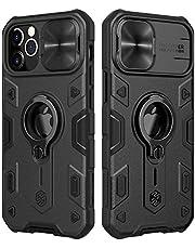 CloudValley Compatibel met iPhone 12 Pro Max Case met Camera Cover & Kickstand, Slide Lens Cover + Ingebouwde 360 ° Rotate Ring Stand, Zwarte Armor Style, Slagvast, Schokbestendig, Volledige Bescherm