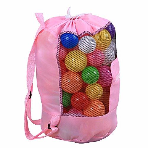 Tirando de la cuerda de la bolsa, bolsa de playa para niños al aire libre,Azul cielo Pink