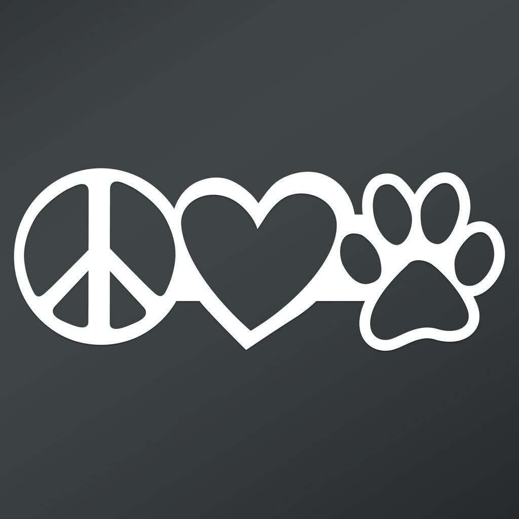 Peace Love Dog Paw Vinyl Decal Sticker | Cars Trucks Vans Walls Laptops Cups | White | 7.5 X 2.8 Inch | KCD1669