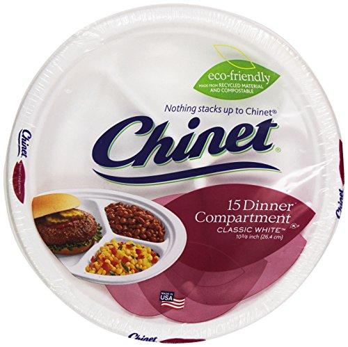 Chinet Premium 10-Inch 3-Compartment Paper Plates, 15 ct