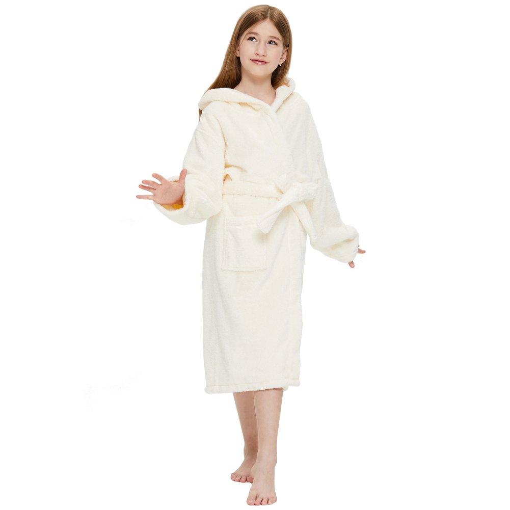 Boys Terry Bamboo Cotton Hooded Robe Bathrobe Girls Kids