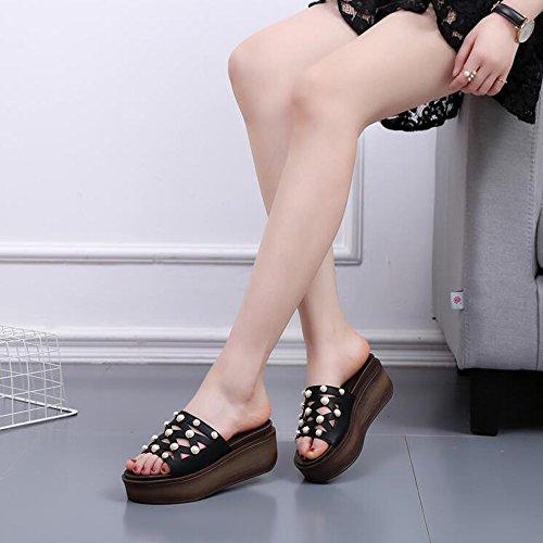 Zapatos Negro Cuña Verano moda Split Sandalias EU39 Confort Mujer Talón UK6 Marrón PU CN39 Mixto Tamaño Portátil Caminar de de Casual LIXIONG Color wOqzBS
