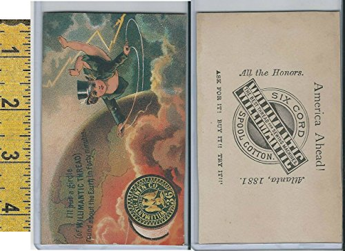 Flying Cherub - Victorian Card, 1890's, Willimantic Thread, Cherub Flying in Clouds