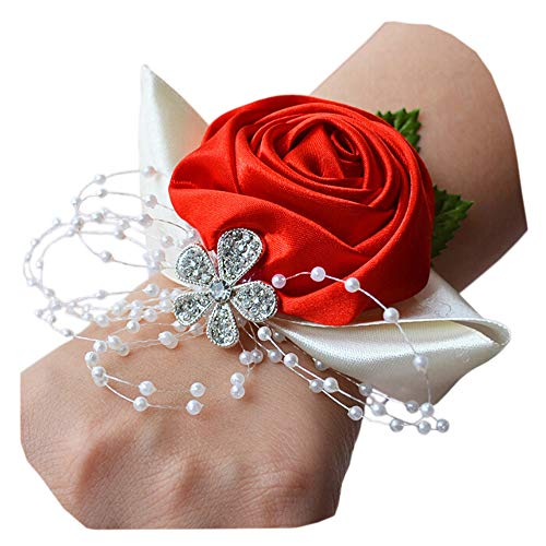 (Arlai Girl Bridesmaid Wedding Wrist Corsage Wedding Prom Hand Flower Decor Pack of 1 Red)