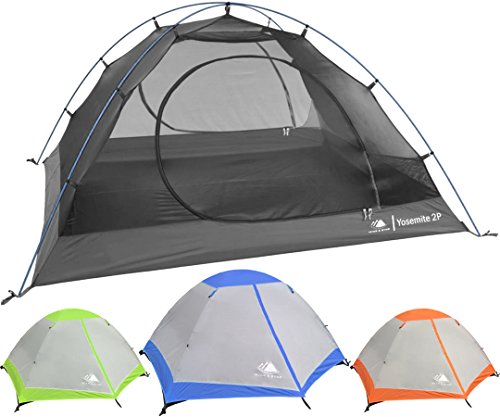 Hyke & Byke Yosemite Two Person Backpacking Tent with Footprint - Lightweight, Spacious Interior, Easy to Set Up, Compact, and Durable Design (Blue)