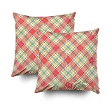 GROOTEY Decorative Cotton Square Set of 2 Pillow Case Covers Zippered Closing Home Sofa Decor Size 16X16Inch Costom Pillowcse Throw Cover Cushion,Repeat Plaid Pattern Retro colors