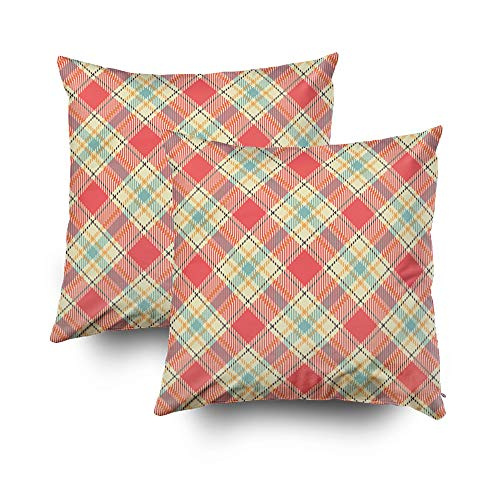Argyle Metal Bed - GROOTEY Decorative Cotton Square Set of 2 Pillow Case Covers Zippered Closing Home Sofa Decor Size 16X16Inch Costom Pillowcse Throw Cover Cushion,Repeat Plaid Pattern Retro colors