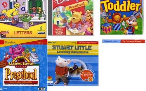 set 5 games: stuart littler his adventures in wordland, Davidson Learning Center Series Preschool, Sesame Street Letters , reader rabbit's toddler, disney winnie the pooh preschool -