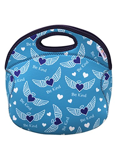 FUNKINS Insulated Lunch Tote Bag for Kids | Spacious, Durable, Washable with Interior Name Tag and Pocket | BE KIND Angel Hearts -