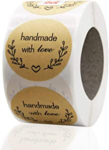 Dafuz Handmade with Love Stickers, Canning Labels Personalized Stickers, 1 Inch 500 Pcs Round Custom Sticker Label