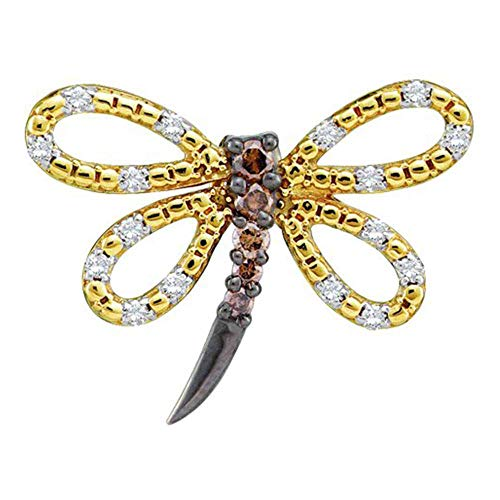 14k Yellow Gold Womens Brown Diamond Dragonfly